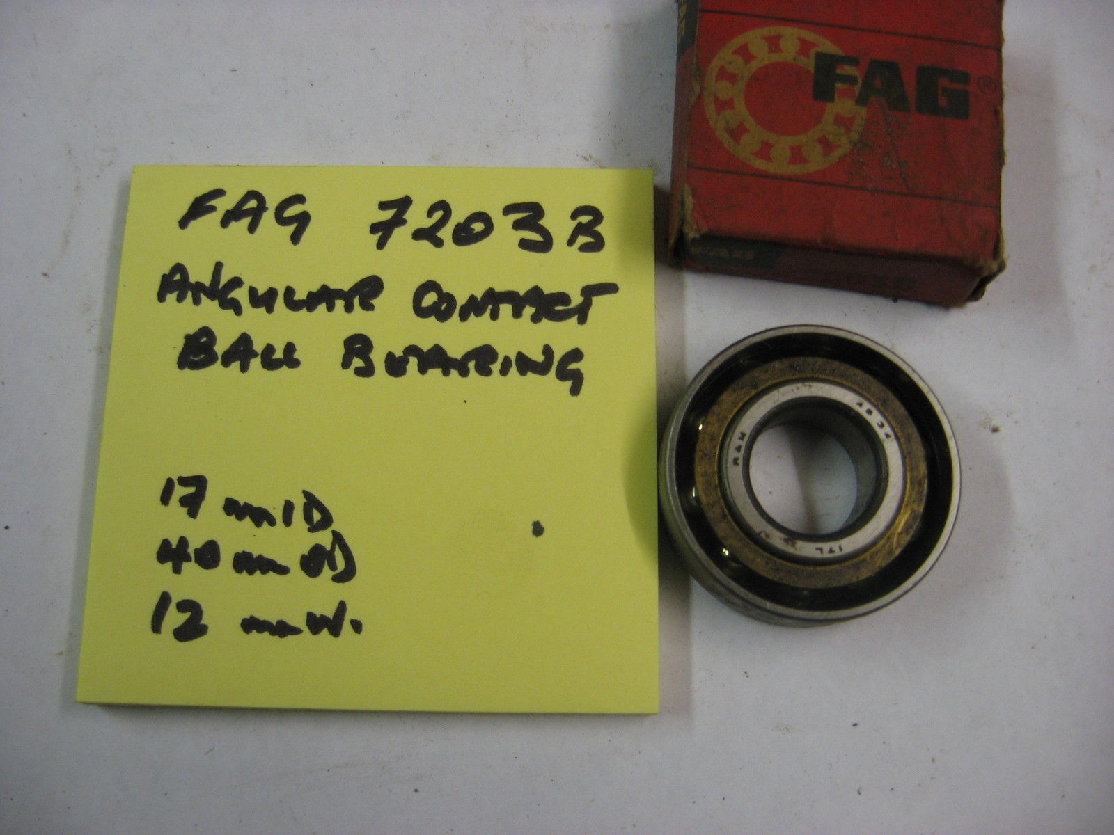 high temperature FAG 7203B AC ball race bearing. 17mm id x 40mm od x 12 wide.