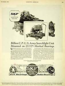 high temperature 1926 Ad SKF Ball Roller Bearings Industrial U. S. Army Searchlight Anti SCA5