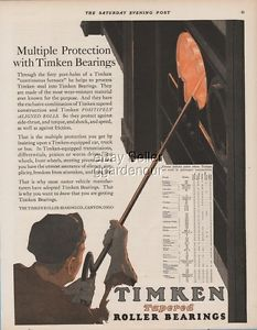high temperature 1928 Timken Roller Bearing Canton Ohio steelworker foundry worker print ad