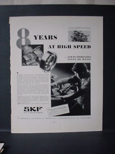 high temperature 1932 SKF Ball & Roller Bearings 8 Years at High Speed Vintage Print Ad 11641