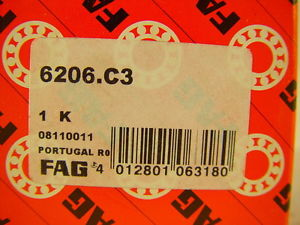 high temperature FAG 6206-C3 Deep Groove Ball Bearing 30mm ID, 62mm OD, 16mm W ~~~ LOT OF 12 ~~~