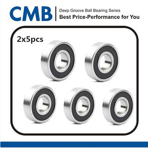 high temperature 10pcs 695-2RS Rubber Sealed Ball Bearing Miniature Bearings 5x13x4mm