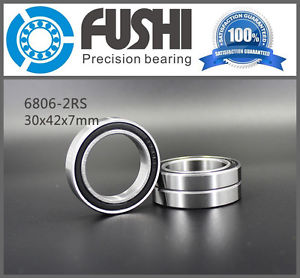 high temperature 6806 2RS ABEC-1 (10PCS) 30x42x7 Metric Thin Section Bearings 61806RS 6806RS
