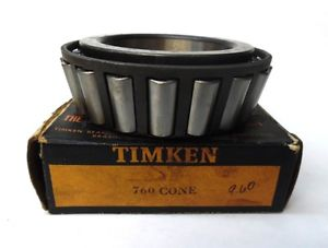 "high temperature TIMKEN TAPERED ROLLER BEARING CONE 760, INNER RING WIDTH 1.9"", 3-9/16"" BORE, NIB"