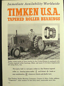 high temperature 1950s advert for TIMKEN U.S.A. roller bearing co Ohio tractor advertising 1954