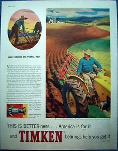 high temperature 1958 Timken Bearing Farmer Plow Field Tractor Instead Horse Plow People Too ad