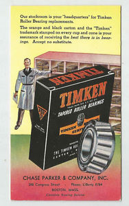 high temperature TIMKEN Roller Bearing Advertising Blotter Chase Parker Company Boston MA Vintage