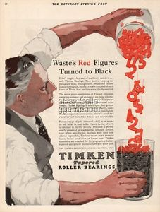 high temperature 1927 Timken Roller Bearing Co Canton Ohio Waste s Red Figures Turned to Black Ad