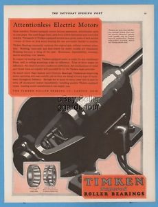 high temperature 1928 Timken Roller Bearing Company Canton Ohio Attentionless Electric Motors Ad