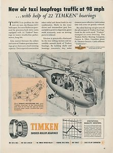 high temperature 1953 Timken Bearing Ad Doman LZ-5 Helicopter Air Taxi Chopper Airways