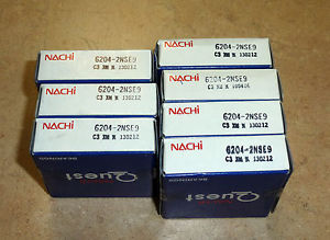 high temperature Nachi bearings, 6204LL (6204-2NSE9), lot of 7