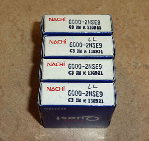 high temperature Nachi bearings, 6000LL (6000-2NSE9), lot of 4
