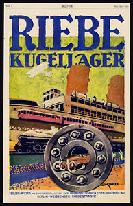 high temperature Antique Print-ADVERTISING-RIEBE-SKF-BALL BEARINGS-BERLIN-TRAIN-CAR-Motor-1917