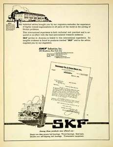 high temperature 1921 Ad SKF Industries Ball Bearings Swedish New York Thank You Letter Feed SCA4