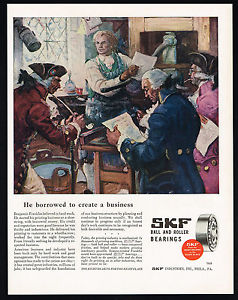 high temperature 1947 Benjamin Franklin Printing Business SKF Ball Roller Bearings Print Ad