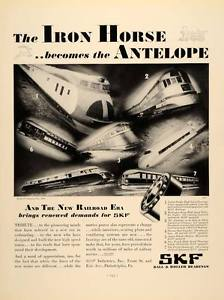 high temperature 1934 Ad SKF Bearings Railroad Trains Ball Iron Horse – ORIGINAL ADVERTISING FTT9