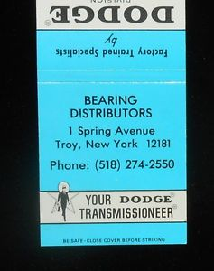 high temperature 1970s? Matchbook Dodge Power Transmission Equipment Bearing Distriutors Troy NY