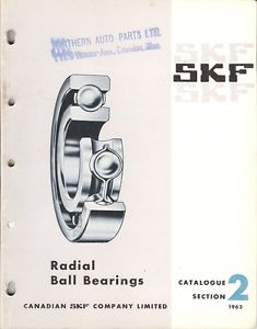 high temperature Equipment Catalog – SKF Canada – Radial Ball Bearings – 1962 (E1326)
