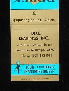 high temperature 1970s Matchbook Dodge Power Transmission Equipment Dixie Bearings Greenville MS