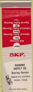 high temperature Matchbook Cover – SKF Ball Bearings Navarro Supply Pecos TX WEAR