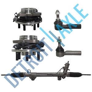 high temperature Power Steering Rack and Pinion + 2 Wheel Hub Bearing w/ ABS + 2 Tie Rod; 4X4