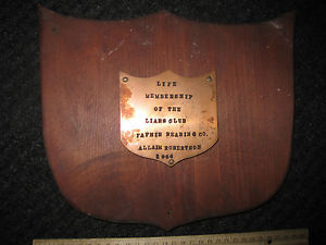 "high temperature OLD 1964 FAFNIR BEARING CO. PLAQUE ""LIFE MEBERSHIP OF THE LIARS CLUB""  LOOK"