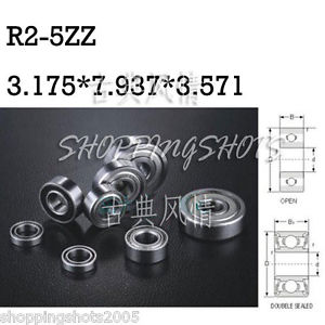 "high temperature 10pcs R2-5ZZ 1/8""x 5/16""x 9/64"" R2-5Z inch Miniature Ball Radial Ball Bearings"