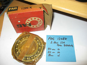 high temperature FAG 1208K 2 row self aligning ball race. 40mm x 80mm x 18mm.Tapered bore.