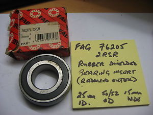 high temperature FAG 76205 2RSR ball bearing. Rubber shielded.  Radiused outer.
