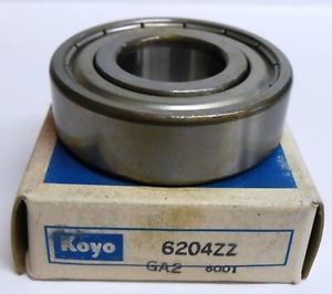 high temperature KOYO BEARINGS, DEEP GROOVE BALL BEARING, 6204ZZ, 20 X 47 X 14MM