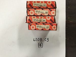 high temperature (4) FAG 6208.C3 Bearings New in Box