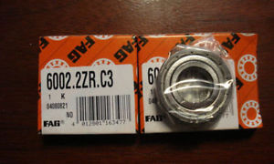high temperature FAG, Shielded Deep Groove Bearing, 15mm x 32mm x 9mm, Qty. 2, 6002.2ZR.C3/GE0/RL