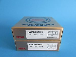 high temperature NSK7009CTYNDBL P4 ABEC-7 Super Precision Angular Contact Bearing. Matched Pair