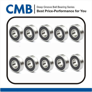high temperature 10pcs 696-2RS Rubber Sealed Ball Bearing 696-2rs Miniature Ball Bearing 6x15x5mm