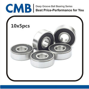 high temperature 50pcs 625-2RS C3 Deep Groove Rubber Sealed Ball Bearing 5 x 16 x 5mm Tested