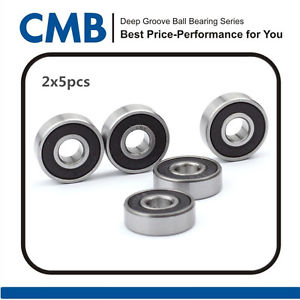 high temperature 10PCS 605-2RS Rubber Sealed Ball Bearing 605 2rs Miniature Bearings 5x14x5mm