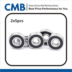 high temperature 10pcs 6302-2RS 6302 2rs Rubber Sealed Ball Bearing 15 x 42 x 13mm