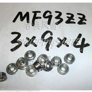high temperature 10pcs) MF93 3X9X4 Flanged 3*9*4 mm bearings Miniature Ball Radial Bearing MF93ZZ