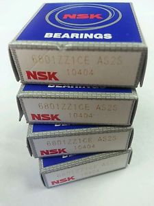 high temperature NSK 6801ZZ BEARING Made in Japan Single Row Deep Groove Ball Bearing Lot of 4