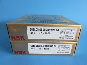 high temperature NSK50TAC100BSUC10PN7B P4 ABEC7 High Precision Ball Screw Bearing. Matched Pair