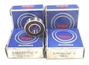 high temperature LOT OF 4 NIB NSK 6002DU BALL BEARINGS SEALED ONE SIDE 32X15X9MM