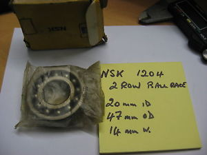 high temperature NSK 1204 Bearing. 2 row Ball bearing. 20mm ID x 47mm OD x 14mm  wide.