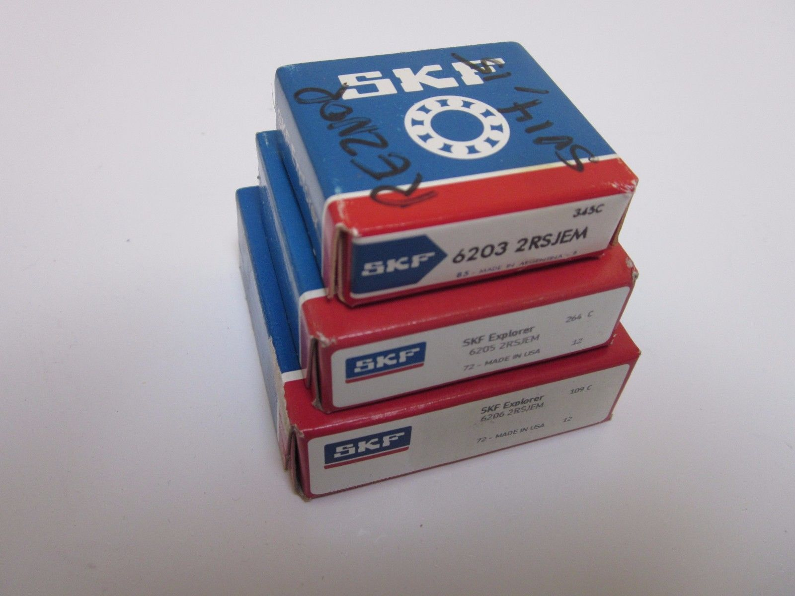 high temperature SKF  Sealed- Deep Groove Radial Ball Bearings, Mixed lot of 3 (2RSJEM)