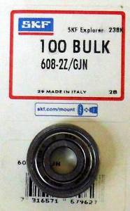 high temperature SKF 608-2Z/GJN Radial/Deep Groove Ball Bearing, 8mm Bore, 22mm OD, 7mm W, 1 pc